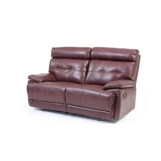 LYKE Home Corey Contemporary Burgundy Faux Leather Reclining Loveseat