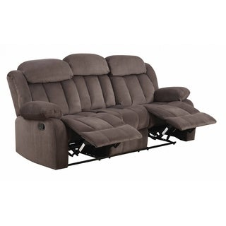 Lyke Home Contemporary Brown Microsuede Reclining Sofa