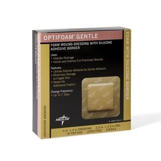 Medline Optifoam Gentle Border 4 x 4-inch Adhesive Dressings (Pack of 10)
