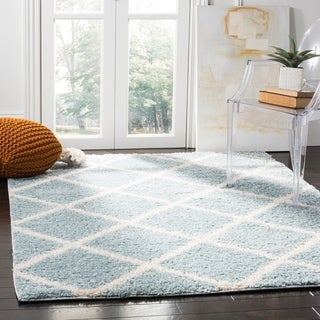 Safavieh New York Shag Contemporary Geometric Blue/ Ivory Area Rug (9' x 12')