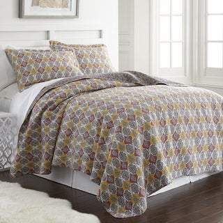 Amrapur Overseas Block Print Paisley 100% Cotton 3-Piece Printed Reversible Quilt set
