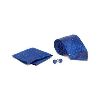 Men's Tie with Matching Handkerchief and Hand Cufflinks-Navy Blue Diamond Design