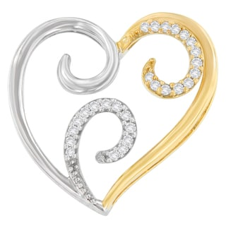 10K Two-Tone Gold 0.1 CTTW Round Cut Diamond Heart Swirl Pendant Necklace (H-I, I1-I2)