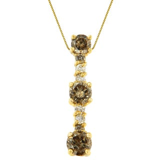 14k Yellow Gold 1 CTTW White and Champagne Round Cut Diamond Drop Pendant Necklace (I-J, I1-I2)