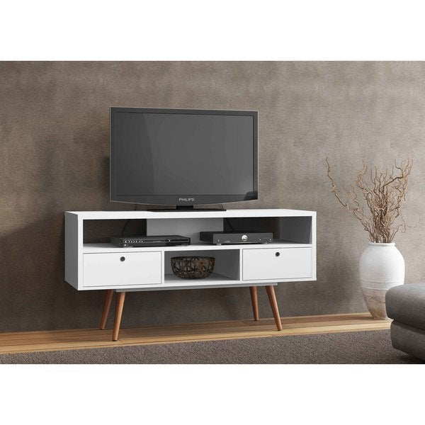 Shop Jessie White Wood Tv Stand On Sale Free Shipping Today