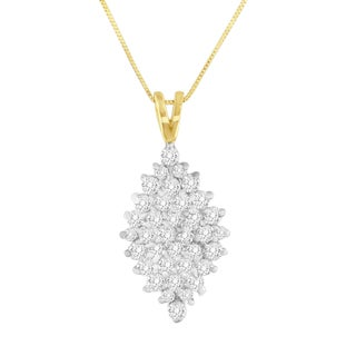 14K Yellow Gold 1 CTTW Round Cut Diamond Drop Halo Pendant Necklace (J-K, I1-I2)