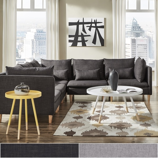 Malina Modular Fabric L-Shaped Sectional Sofa by iNSPIRE Q Modern : l shape sectional - Sectionals, Sofas & Couches