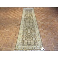 Hand-knotted Oushak Oriental Grey Wool Runner Rug - 3'x11'8