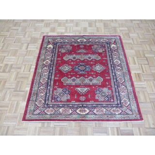 Kazak Red and Navy Wool Hand-knotted Oriental Rug (4'9x5)