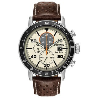 Citizen Men's Leather Ivory Dial Eco-Drive Watch