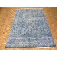 Tabriz Sky Blue Wool Overdyed Hand-knotted Rug (9'5x12'9)
