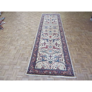 Peshawar Ivory Wool Hand-knotted Oriental Rug (4x13'10)