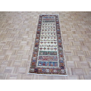 Hand-knotted Ivory Wool Peshawar Oriental Rug (2'8x7'11)