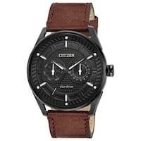 Citizen Men's DRIVE Leather Black Dial Eco-Drive Watch