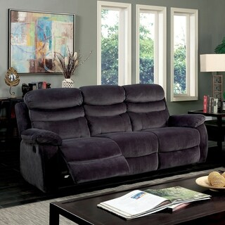Furniture of America Reanold Transitional Grey Tufted Fabric Reclining Sofa