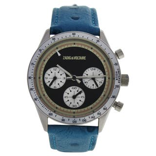 Zadig & Voltaire ZVM106 Master - Silver/Turquoise Leather Strap Watch|https://ak1.ostkcdn.com/images/products/16496704/P22835646.jpg?impolicy=medium