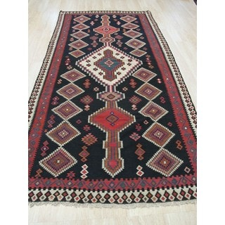 EORC Hand-knotted Black Wool Traditional Geometric Reversible Flatweave Kilim Rug (4'7x10')
