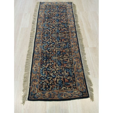 EORC Hand-knotted Traditional Oriental Kerman Blue Wool Runner Rug (1'11 x 5'9) - 2' x 6'