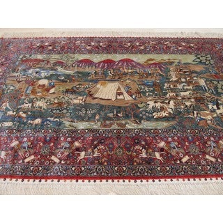 EORC Tabriz Green Silk Hand-knotted Oriental Pictorial Area Rug (3' x 5')