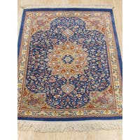 EORC Hand-knotted Blue Silk Traditional Oriental Qum Rug (1'10 x 2'5)