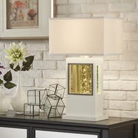 Ceres Rectangular Sparkling White Wood Table Lamp by iNSPIRE Q Bold