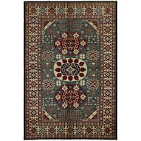 Arshs Fine Rugs Super Kazak Magaly Green/Ivory Hand-knotted Wool Rug - 7' X 10'