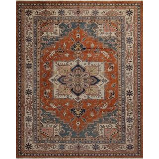 Arshs Fine Rugs Super Kazak Dean Rust/Ivory Wool Hand-knotted Rug (7'11 x 9'9)