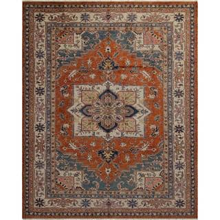 Arshs Fine Rugs Super Kazak Dean Rust/Ivory Wool Hand-knotted Rug (7'11 x 9'9)|https://ak1.ostkcdn.com/images/products/16496790/P22835654.jpg?impolicy=medium
