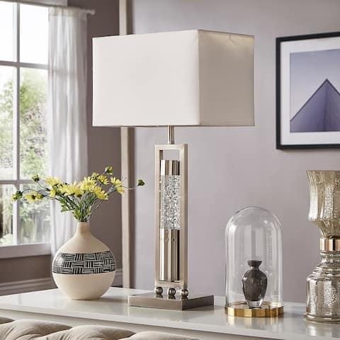 Ursa Rectangular Shade Sparkling Nickel Finish Table Lamp by iNSPIRE Q Bold