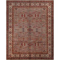 Arshs Fine Rugs Super Kazak Marc Grey/Tan Wool Hand-knotted Rug - 8' x 10'