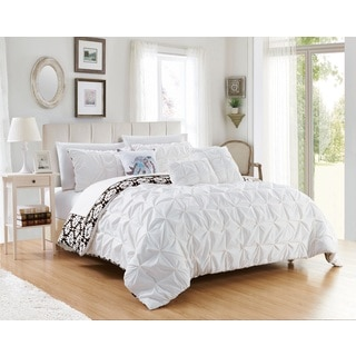 Chic Home Yabin 10-Piece Reversible White Complete Bed in a Bag Comforter Set