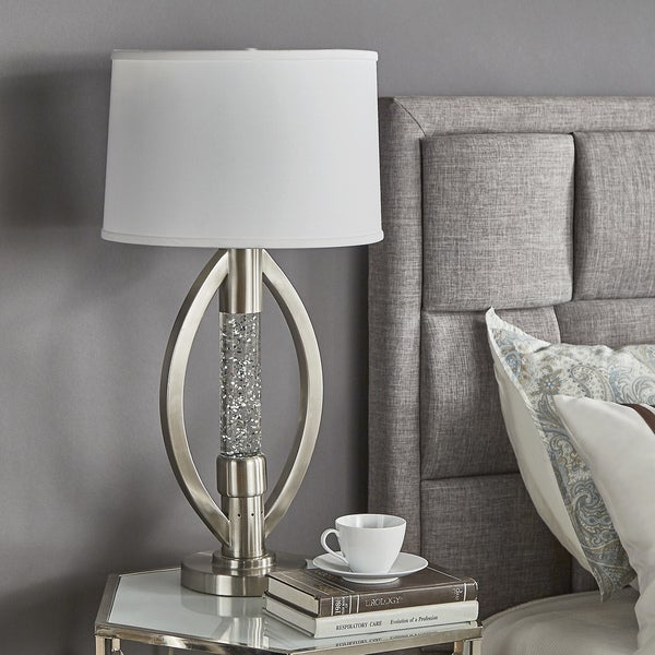 Shop Ellipse Sparkling Nickel Finish Table Lamp By Inspire