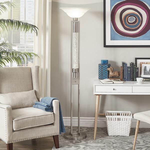 iNSPIRE Q Bold Cosmina Sparkling Nickel Finish Torchiere Floor Lamp