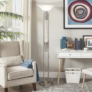 Cosmina Sparkling Nickel Finish Torchiere Floor Lamp by iNSPIRE Q Bold
