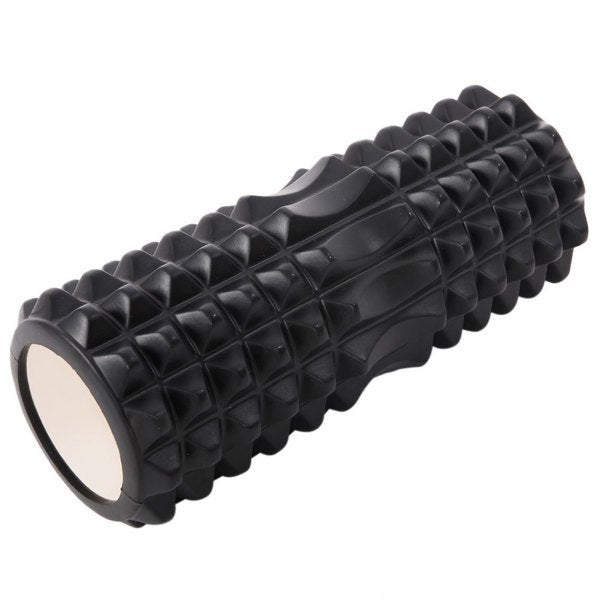 33*14cm Crescent Hollow EVA+PVC Foam Muscle Massage Yoga Roller Black