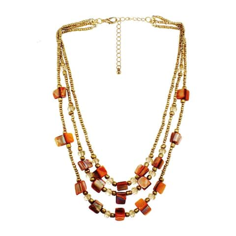Brown Shell & Goldtone Seabead Nested Necklace