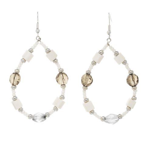 White & Smoke Beaded Open Drop Earrings
