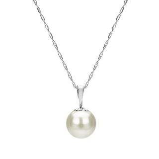 DaVonna 14k Gold White Round Freshwater High Luster Pearl Pendant Necklace, 18""