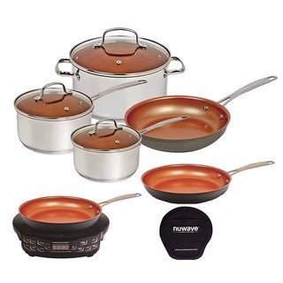 "Nuwave Induction Cooktop w/ 9 inch Fry Pan, 12"" Ceramic Fry Pan & 7pc Cookware Set"