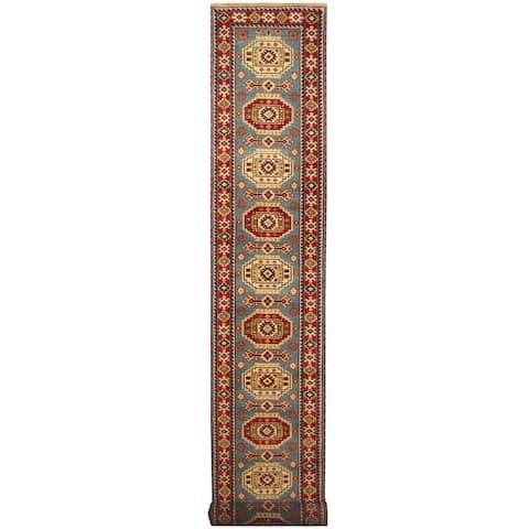 Handmade Herat Oriental Indo Tribal Kazak Wool Runner (India) - 2'8 x 20'