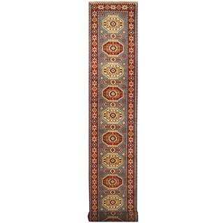 Herat Oriental Indo Hand-knotted Tribal Kazak Wool Runner (2'8 x 20')