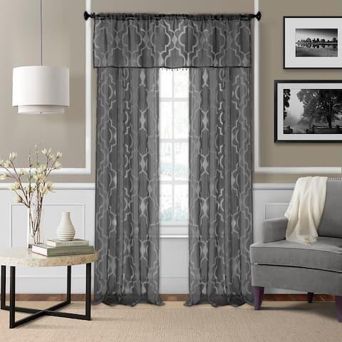 Elrene Montego Burnout Trellis Sheer Window Curtain