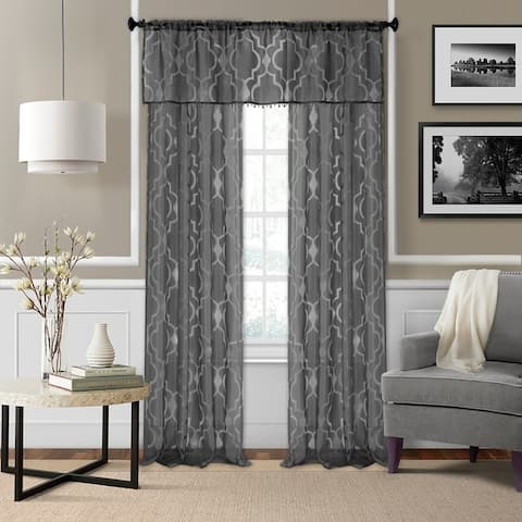 Elrene Montego Burnout Trellis Sheer Window Curtain