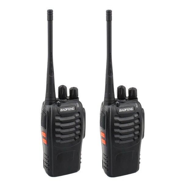 2pcs BF-888S 5W 400-470MHz 16-CH Handheld Walkie Talkies Black