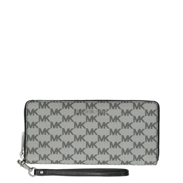 d43f28acb096 Michael Kors Jet Set Grey and Black MK Logo Continental Wristlet Wallet