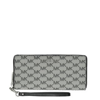 Michael Kors Jet Set Grey and Black MK Logo Continental Wristlet Wallet