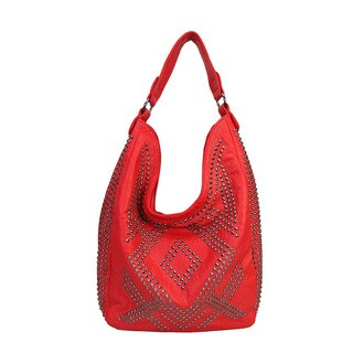 Rimen & Co Solid Rhinestone Studded Pattern Hobo Handbag