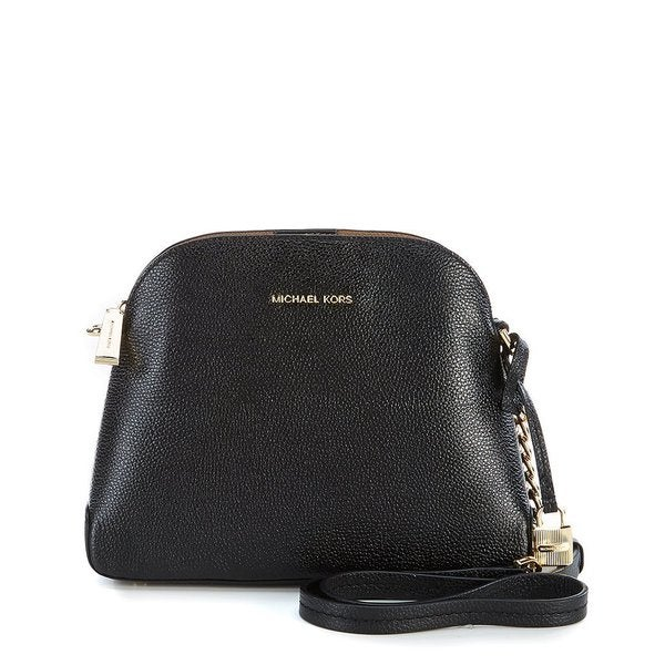 d4a8b7c1948e Shop Michael Kors Studio Mercer Black Leather Dome Medium Crossbody ...