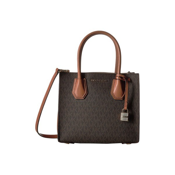 Shop Michael Kors Studio Mercer Brown Signature Crossbody Handbag ... b425eaa74659b