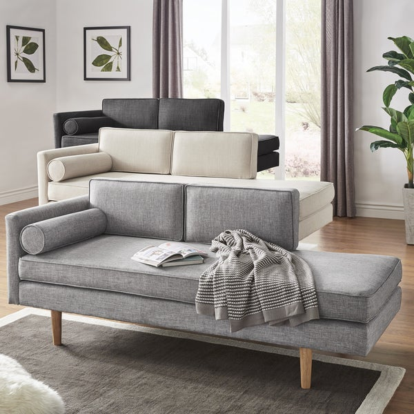 Caela Mid Century Chaise Lounge With Pillow By INSPIRE Q Modern